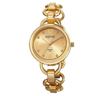 August Steiner Women's Diamond Accented Dial Swiss Quartz Chain-Link Gold-Tone Bracelet Watch