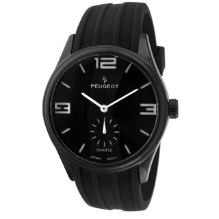 Peugeot Men's 2042WBK Japanese Quartz Black Rubber Sport Watch