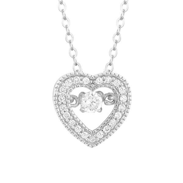 La Preciosa Sterling Silver Dancing Cubic Zirconia Heart Pendant Necklace