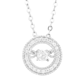 La Preciosa Sterling Silver Dancing Cubic Zirconia Circle Pendant Necklace