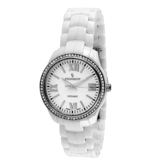 Peugeot Women's Swiss White Ceramic Crystal Bezel Watch