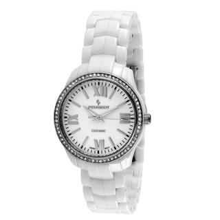 Peugeot Women's Swiss White Ceramic Crystal Bezel Watch