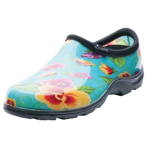 Garden Outfitters Women's Teal Pansy Rain and Garden Shoes (Size 6)
