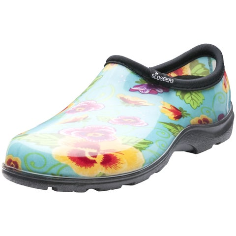 Garden Outfitters Women's Teal Pansy Rain and Garden Shoe (Size 8)