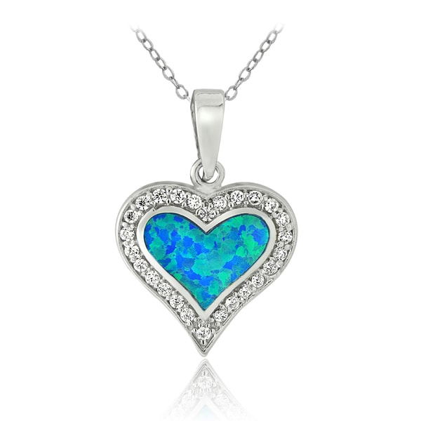 Glitzy Rocks Sterling Silver Created Blue Opal and Cubic Zirconia Heart Necklace