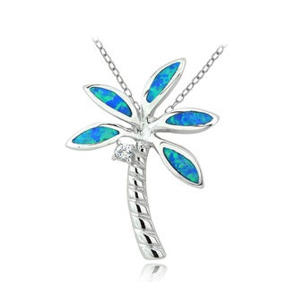 Glitzy Rocks Sterling Silver Created Blue Opal and Cubic Zirconia Palm Tree Necklace