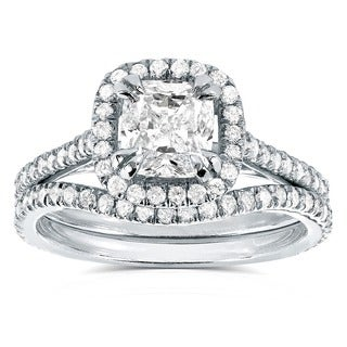 Annello by Kobelli 14k White Gold 1 1/2ct TDW Cushion-cut Halo Diamond Bridal Ring Set (H