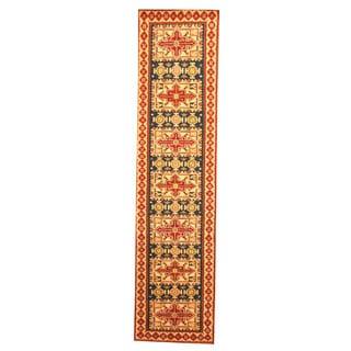 Herat Oriental Indo Hand-knotted Kazak Navy/ Ivory Wool Rug (2'6 x 10')