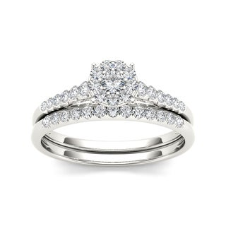 De Couer 10k White Gold 1/2ct TDW Diamond Bridal Ring Set
