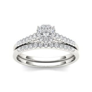 De Couer 10k White Gold 1/2ct TDW Diamond Bridal Ring Set