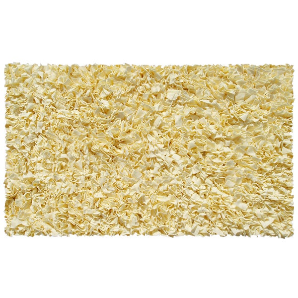 Shaggy Raggy Yellow Cotton Area Rug - 4'7 X 7'7