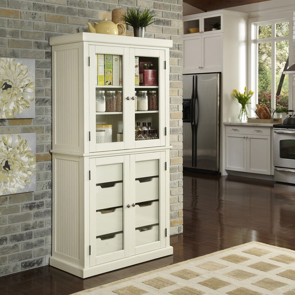 White Kitchen Storage Cabinet Or Hutch: Nantucket Distressed China Pantry By Home Styles