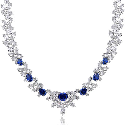 Icz Stonez Sterling Silver 66 7/8ct Blue and White Cubic Zirconia Wreath Necklace