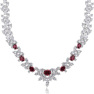 Icz Stonez Sterling Silver 66 7/8ct TGW Red and White Cubic Zirconia Wreath Necklace
