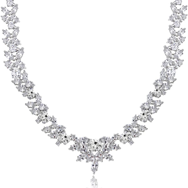 Icz Stonez Sterling Silver 66 7/8ct TGW Cubic Zirconia Wreath Necklace