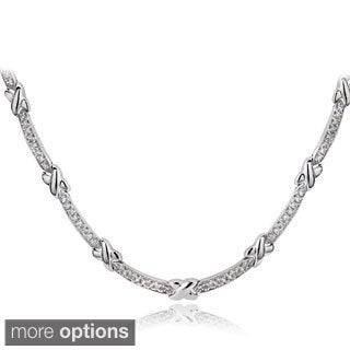 Icz Stonez Sterling Silver 1 1/2ct TGW Cubic Zirconia X and Bar Necklace