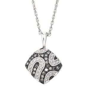 Sterling Silver 1/5ct TDW Champagne Diamond Pendant Necklace
