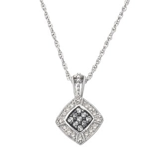 SilverMist Sterling Silver 1/4ct TDW Grey and White Diamond Necklace By Ever One