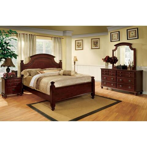 Furniture of America Brah Transitional Cherry 4-piece Bedroom Set