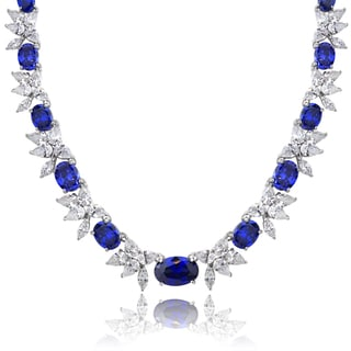 Icz Stonez Sterling Silver 59 3/4ct TGW Blue and White Cubic Zirconia Oval Flower Necklace