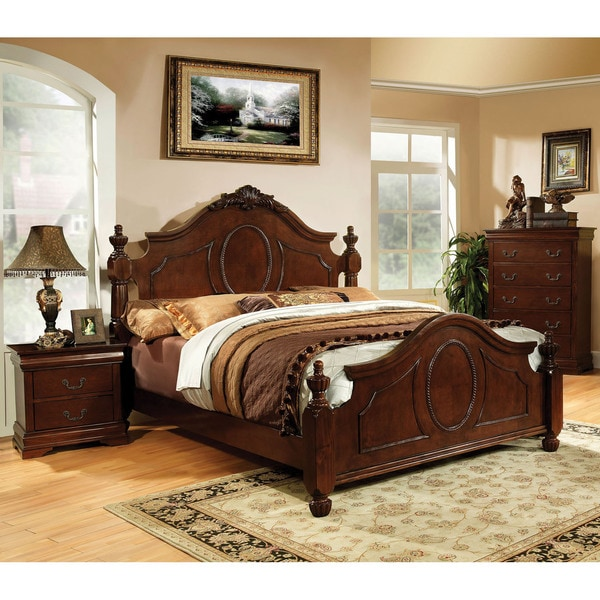 Furniture of America 2-piece Brown Cherry Bed with Nightstand Set
