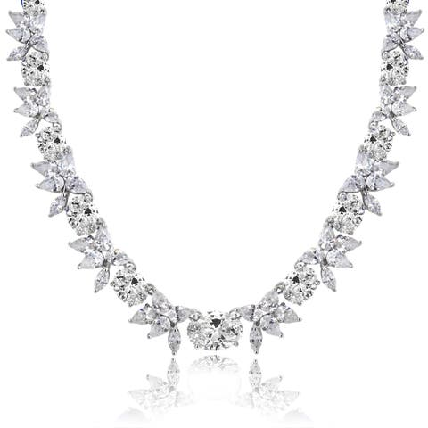 Icz Stonez Sterling Silver 59 3/4ct TGW Cubic Zirconia Oval and Flower Necklace