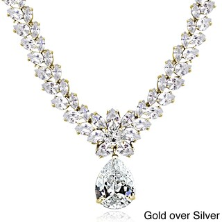 Icz Stonez Sterling Silver 69 1/2ct Cubic Zirconia Teardrop Estate Necklace (Option: Gold Plated - Yellow)