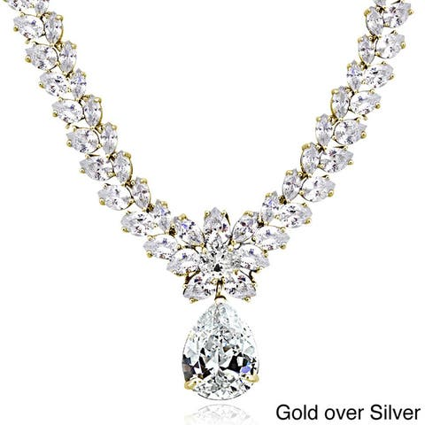 Icz Stonez Sterling Silver 69 1/2ct Cubic Zirconia Teardrop Estate Necklace