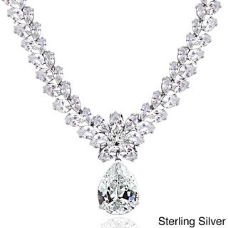 Link to Icz Stonez Sterling Silver 69 1/2ct Cubic Zirconia Teardrop Estate Necklace Similar Items in Necklaces