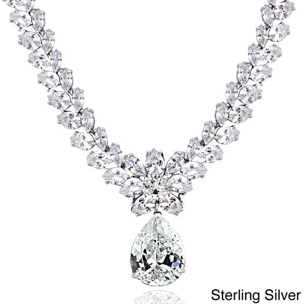 43a49912d Icz Stonez Sterling Silver 69 1/2ct Cubic Zirconia Teardrop Estate Necklace