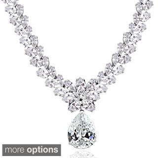 Icz Stonez Sterling Silver 69 1/2ct TGW Cubic Zirconia Teardrop Estate Necklace