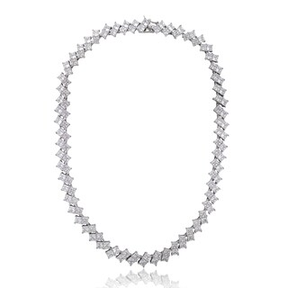 Icz Stonez Sterling Silver or Gold Over Silver 270 1/2ct TGW Cubic Zirconia Square Tennis Necklace