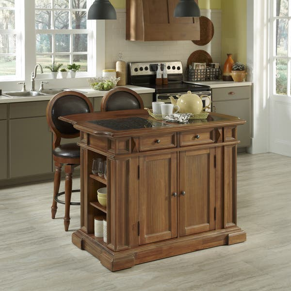 Americana Vintage Kitchen Island and Two Stools by Home Styles