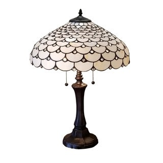 Amora Lighting Tiffany Style Jeweled Design Double Lit 25-inch 3-light Table Lamp