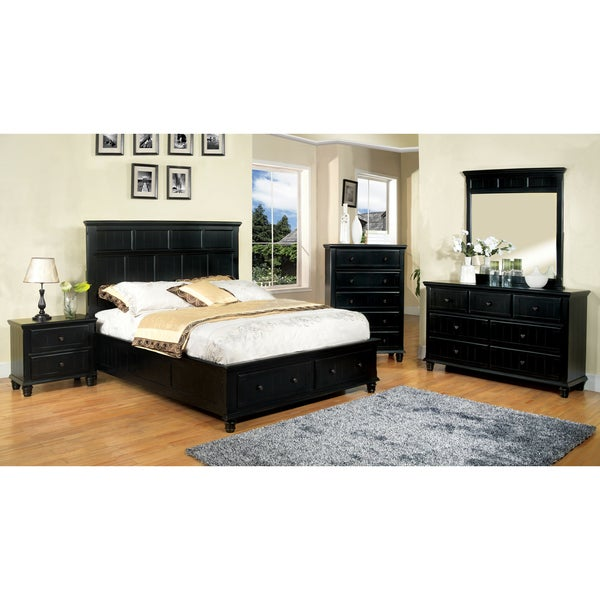 Transitional Bedroom Furniture: Shop Furniture Of America Transitional 4-piece Black