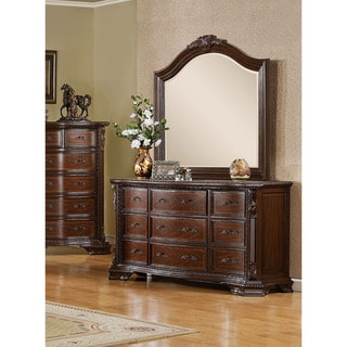 Furniture of America Vace Cherry 2-piece Dresser and Mirror Set