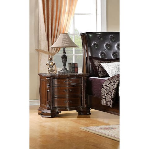 Furniture of America Vace Traditional Walnut 3-drawer Nightstand