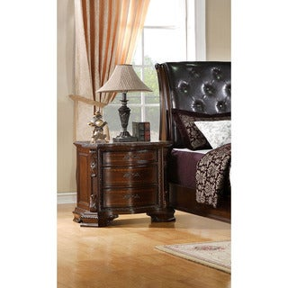 Furniture of America Kassania Luxury Dark Walnut Three-Drawer Nightstand