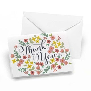 Retro Floral Thank You Notes