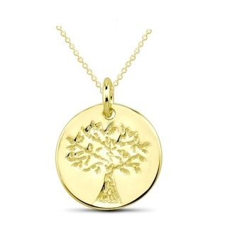 Goldplated Sterling Silver Tree of Life Disc Pendant Necklace