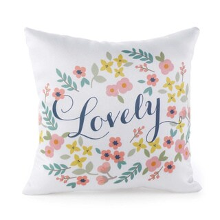 Retro 'Lovely' Floral Pillow
