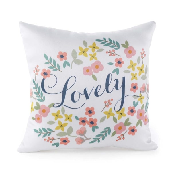 Retro 'Lovely' Floral Pillow. Opens flyout.