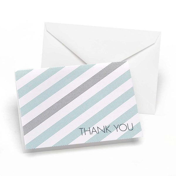 Lagoon and Slate Simple Stripe Thank You Notes