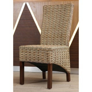 International Caravan 'Bayu' Woven Abaca/Rattan/Seagrass Chair with Mahogany Hardwood Frame