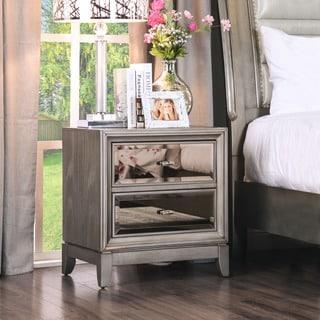 Furniture of America Mirrored 2-drawer Nightstand