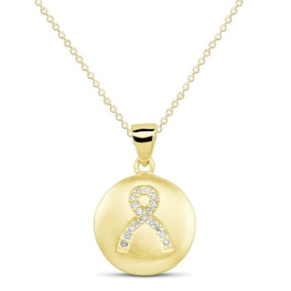 Goldplated Sterling Silver Cubic Zirconia Breast Cancer Awareness Ribbon Circle Pendant Necklace