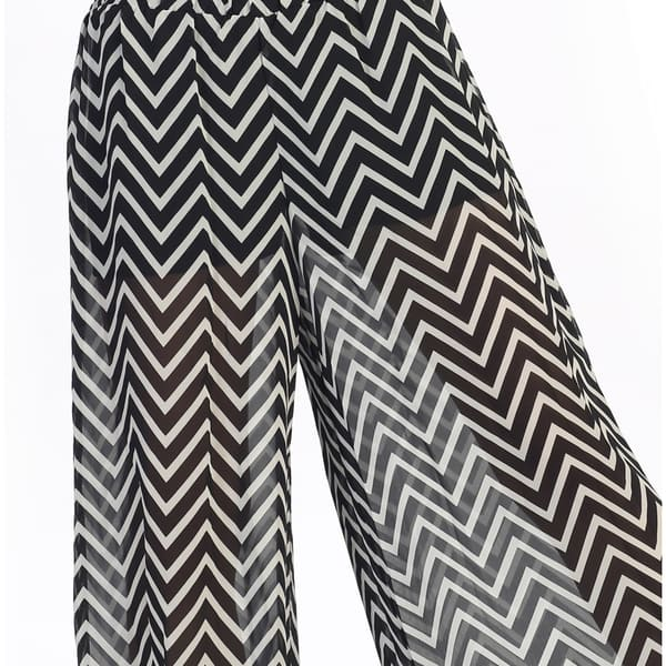 Hadari Women's Contemporary Sheer Zig-zag Palazzo Pants