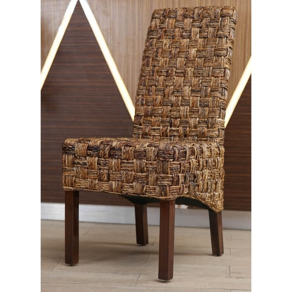 International Caravan Victor Woven Abaca Mahogany Dining Chair