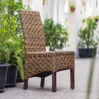 International Caravan 'Manila' Woven Abaca / Rattan Wicker Dining Chair with Mahogany Hardwood Frame