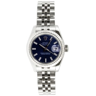 Pre-owned Rolex Women's Datejust Stainless Steel Jubilee Band Blue Stick Dial Watch